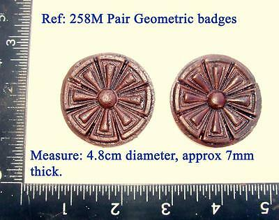 "258m ""Pair geometric badges"" for Vienna regulator clock cases, DIY* furniture"