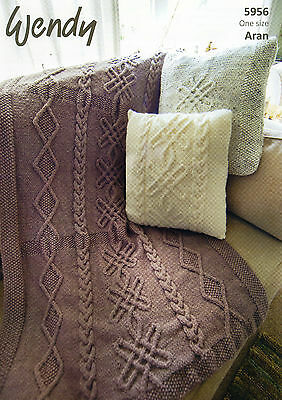 WENDY 5956 - ARAN CUSHION & THROW KNITTING PATTERN -not the finished garments