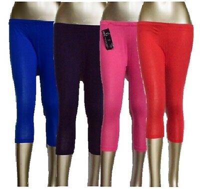 Girls Kids Children's Plain **3/4**Legging Trousers Cropped Stretch leggings