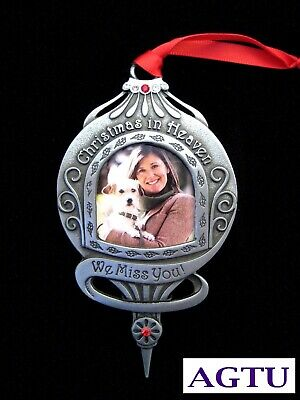Memorial Photo Ornament Christmas In Heaven Sympathy Keepsake Miss You Pet AGTU