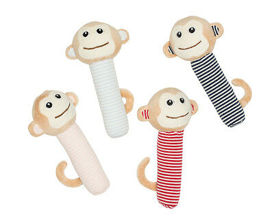 Baby Rattle Velour Stripe Monkey Rattle Soft Toy Baby Shower Baby Gift Idea