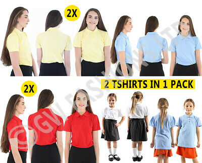 2 X  GIRLS  Plain Polo Tee T-Shirt School Shirts Uniform PE Top Gym Tops