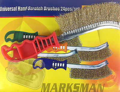 24pc flat wire brush set tempered crimped steel wire scratch hand brushes handle