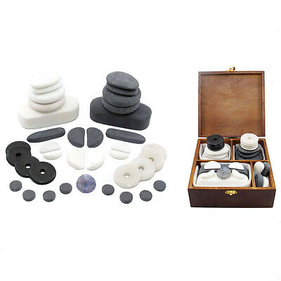 HOT/COLD STONE MASSAGE FACIAL SET 37 Basalt, Marble, Obsidian, White Jade Stones