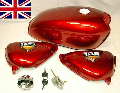 New Honda Cb100 Cb125 S Tank - Side Panels & Badges - Fuel Cap & Tap In Red
