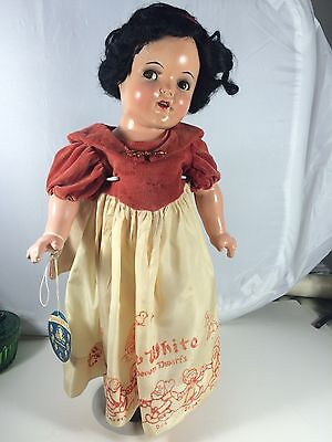 """Rare! Antique Composition Ideal 18"""" Snow White Doll Flirty Eyes!"""