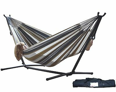 Vivere Double Hammock with Space Saving Steel Stand Desert Moon