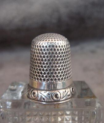 Large Antique 19th Century Sterling or Coin Silver Thimble 11