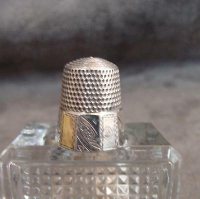 Antique Sterling Silver Thimble Simon Brothers 10 Facet Chased  Size 8