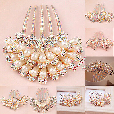 Crystal Rhinestone Flower Bridal Wedding Party Hair Comb Hairpin Clip Jewelry
