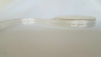 1M Congratulations On Your Christening Ribbon 15Mm Ivory With Silver Edge Bogof