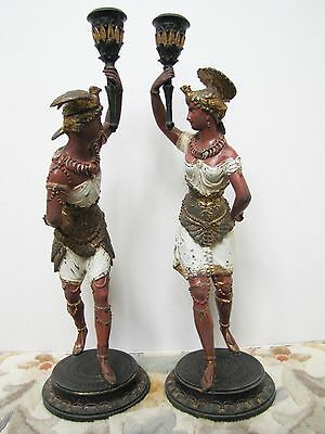 Pair of Antique Late 19th Century French Painted Spelter Figurine Candlesticks