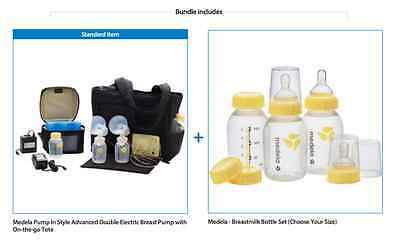 Medela Electric Double Breast Pump, On-the-Go Tote BPA Free Gift Baby Bottle Set