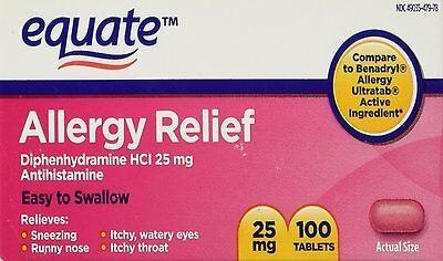 Equate Diphenhydramine HCI 25 mg Allergy Relief 100 Tablets