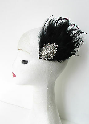 Black & Silver Feather Fascinator Headpiece Races Diamante Hair Clip Vintage 186