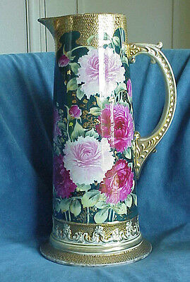 "MASSIVE 14"" Antique Nippon PINK PEONIES Gold Moriage Hand Painted Pitcher Ewer"