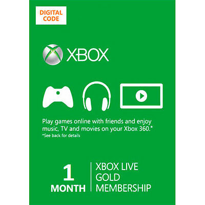 1 MONTH XBOX ONE 360 AU CA Microsoft ESD Electronic Code Key Software Prepaid