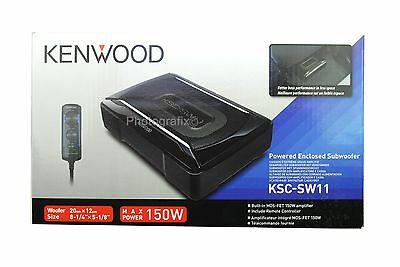 Kenwood KSC-SW11 150W Compact Powered Subwoofer w/ Bass Remote KSCSW11