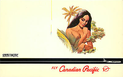 CANADIAN PACIFIC AIRLINE to the SOUTH PACIFIC ~CANADA~ Gorgeous Old Postcard