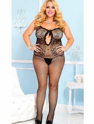 Fishnet Open Mid Drift Bodystocking Plus Size 20 to 24
