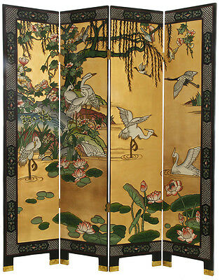 "4 Panel ""Cranes"" Gold/Black Chinese Lacquer Screen/Room Divider"