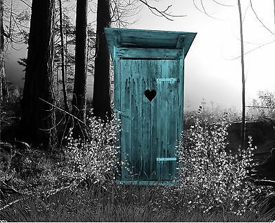 Teal & Gray B&W Wall Art Outhouse Photo Print Privy Matted Picture Bath Decor
