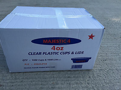 Majestic 4oz Clear Plastic Sauce Cups & Lids Box 1000. For Takeaway/ Restaurant.