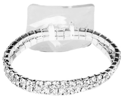 Floral Corsage Bracelet in Crystal, Rhinestone Glorious (10 cm) for Large Wrists
