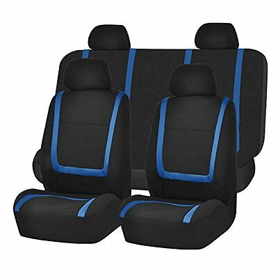 Flat Cloth Seat Cover Headrests and Solid Bench Blue Black