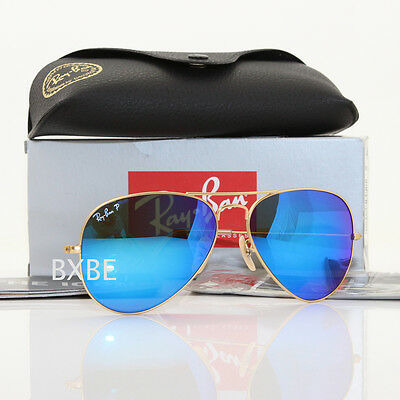 New Authentic Ray Ban Aviator Rb3025 112/4L 58Mm Polarized Blue Mirror Gold Frm