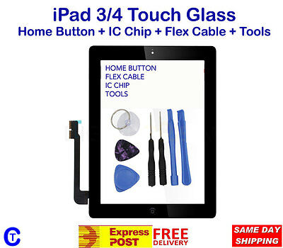 iPad 3/4 touch glass with home button White and Black