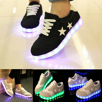 Unisex LED Light Up Sneakers Men Women Lace Up Casual Sports Shoes Trainers AUS