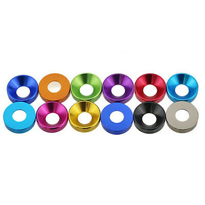 M2/M2.5/M3/M4 Aluminum Alloy Cone Cup Head Screw Gasket Washer Multicolor
