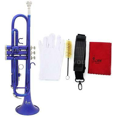 Bb Beginner Trumpet in Gold Silver Black Blue Purple Red+Care Kit M9V4