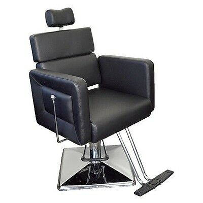 Salon Professional Threading Chair Black Reclining Chair Removable Head Rest