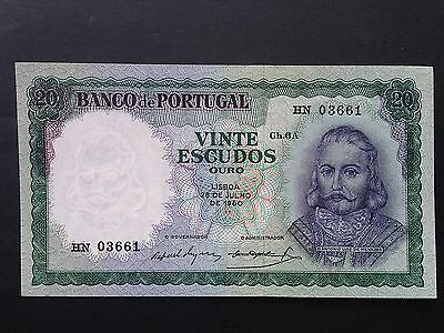 Portugal 20 Escudos P163 Chapa 6A Dated 1960 EF+