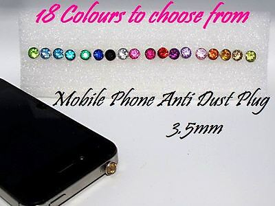 Anti dust plug gem for 3.5mm earphone jack - mobile phone charm / iphone bling