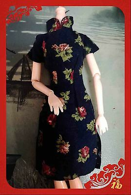 Fashion Rose Retro Cheongsam Chinese Party Dress Clothes Gowns For Barbie Dolls