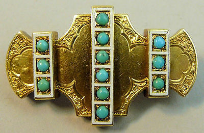 A Fine Victorian 15Ct Gold (Tested) Turquoise And Enamel Brooch