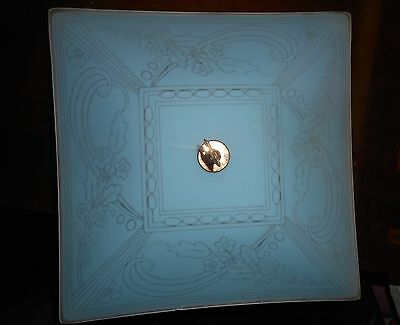 Blue Floral Vintage Art Deco Flush Mount Etched Ceiling Fixture w/Brass Finial