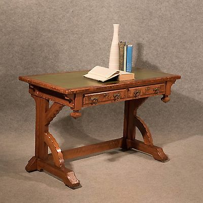 Antique Victorian Desk Library Table Pitch Pine Top Quality Pugin Gothic c1850