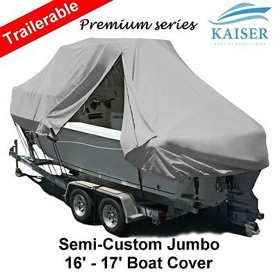 New Design with Zipper 600D 4.9-5.2m 16ft-17ft T-Top Jumbo Boat Cover Grey