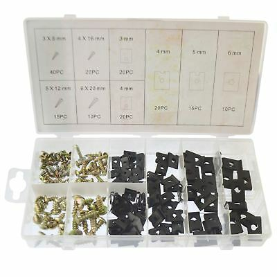 Screw And U Type Cushion Speed Clips Assortment Kit Fastener Trim Panel 170pcs