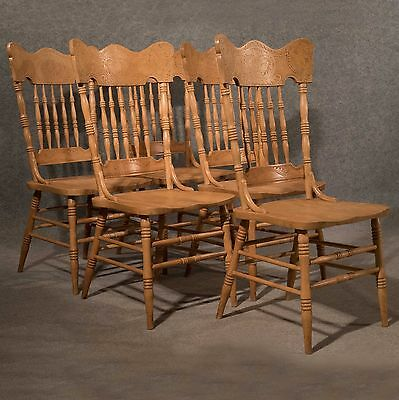 Antique Kitchen or Dining Chairs Set 5 Quality French Beech Generous Size c1950