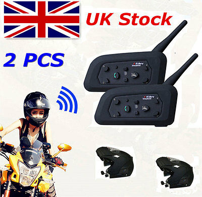 2x V6 Bluetooth Interphone Motorcycle Helmet BT Intercom Headset 1200M 6 Riders