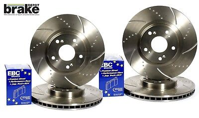 Ford Focus 2.5 ST ST225 Front Rear Evora Dimpled Grooved Brake Discs & EBC Pads