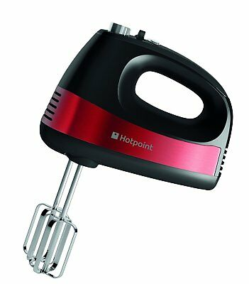 Hotpoint hand held powerful 5 Speed 300W cake mixer twin wisk blender Red Black