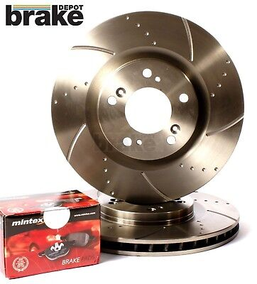 Ford Mondeo Front Brake Discs Performance Dimpled & Grooved & Mintex Pads MK4