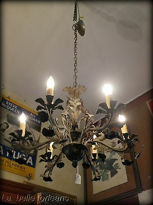 1940's CAST BRASS ORNATE CHANDELIER W/ FLORAL DETAILS. 6 LIGHTS . MUST SEE!!