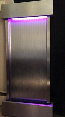 """WALL WATERFALL XL 48""""x22"""" ST. STEEL FOUNTAIN, Color Lights, Remote Ctrl $200 OFF"""